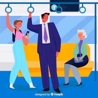 Mensen die het platte ontwerp van de metro gebruiken