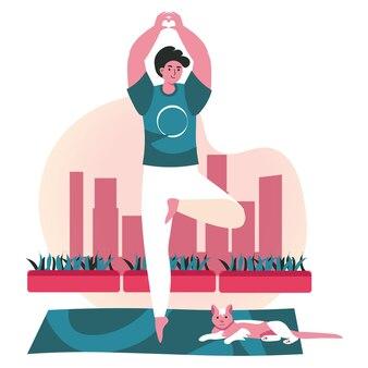 Mensen die het scèneconcept van yogaasana's doen. man staande in boom pose met kat. sporttraining, balanstraining, fysieke ontwikkeling, mensenactiviteiten. vectorillustratie van karakters in plat ontwerp