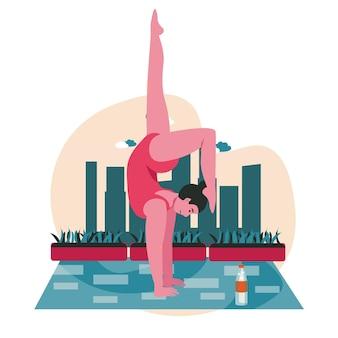 Mensen die het scèneconcept van yogaasana's doen. vrouw voert handstand uit. sporttraining, lichaams- en gezondheidszorg, lichamelijke ontwikkeling, mensenactiviteiten. vectorillustratie van karakters in plat ontwerp