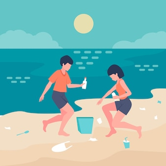 Mensen die het strand samen schoonmaken