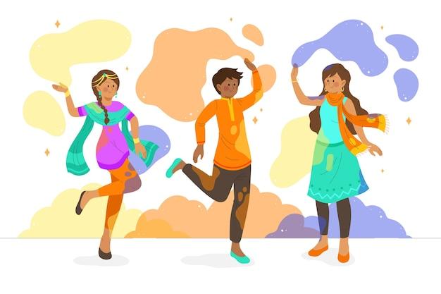 Mensen die holi-evenement vieren en samen tijd doorbrengen