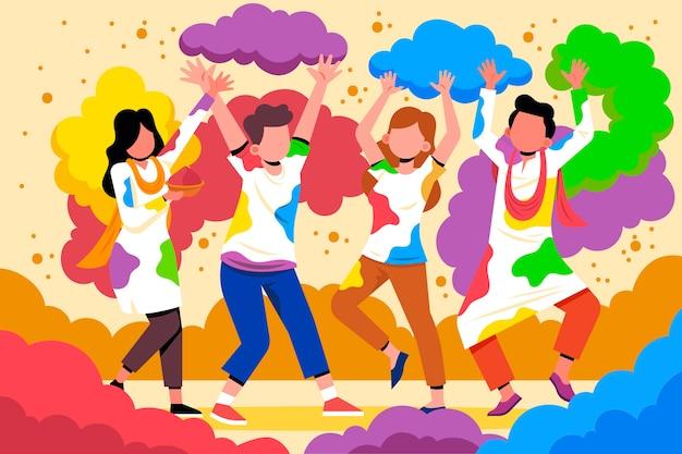 Mensen die holifestival vieren met kleurrijk poeder