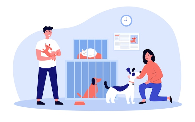 Mensen die huisdieren uit opvang adopteren