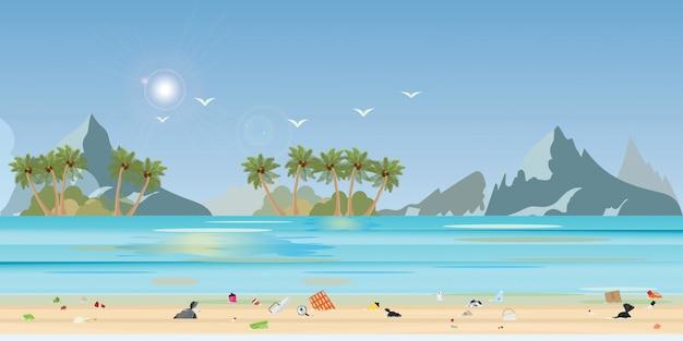 Mensen die huisvuil en flessenplastiek dumpen in het strand, illustratie.