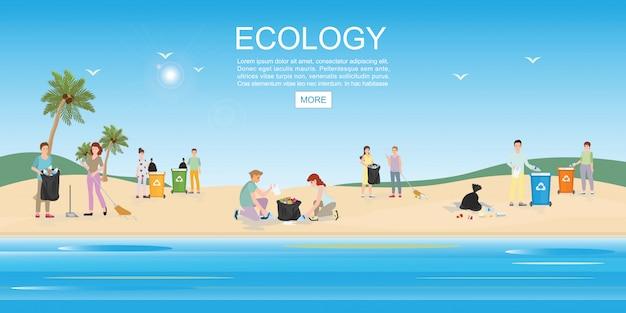 Mensen die huisvuil op strandgebied schoonmaken.