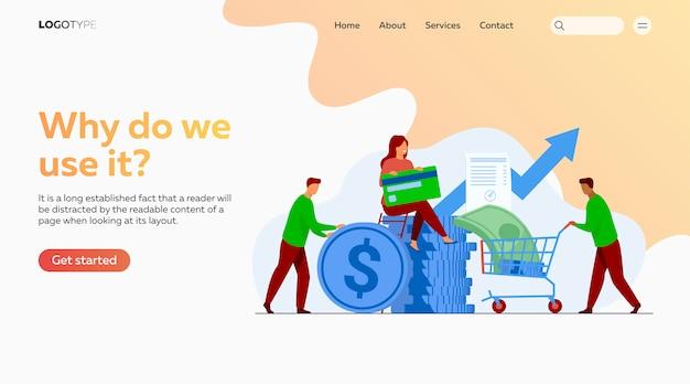 Mensen die hun geld investeren in de bestemmingspagina-sjabloon van het venture-fonds