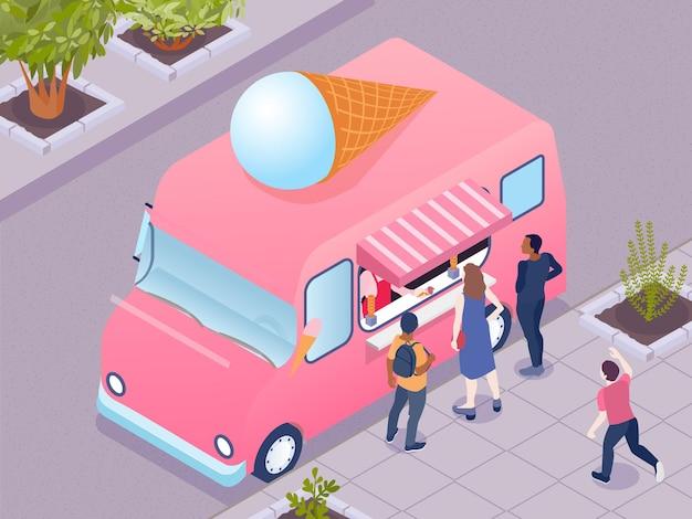 Mensen die ijs kopen bij roze vrachtwagen 3d isometrisch