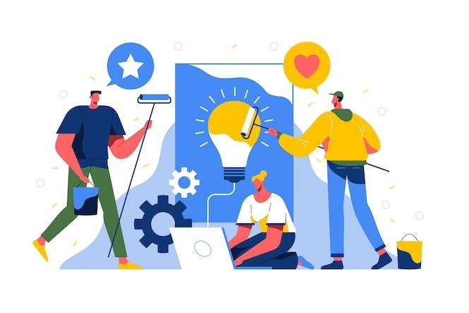 Mensen die illustratie samenwerken