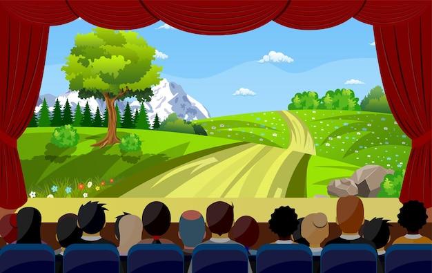 Mensen die in de bioscoop zitten en naar de film kijken achteraan