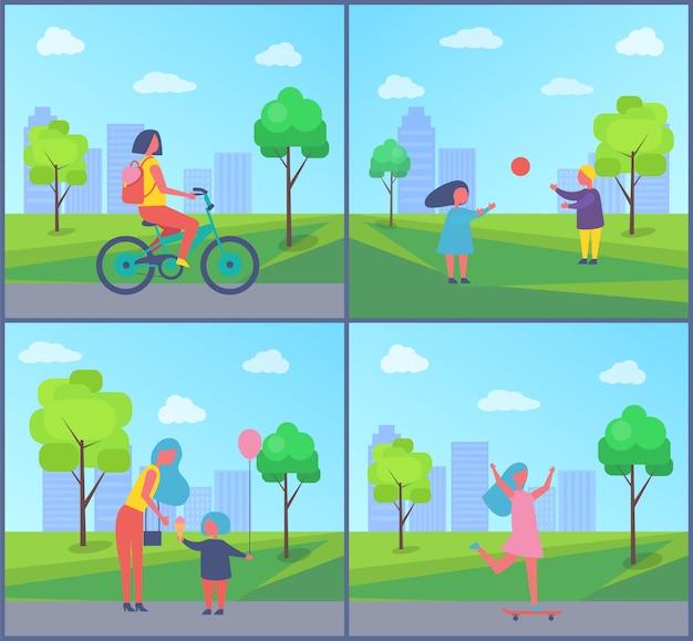 Mensen die in de illustratie van het parkbeeldverhaal spelen