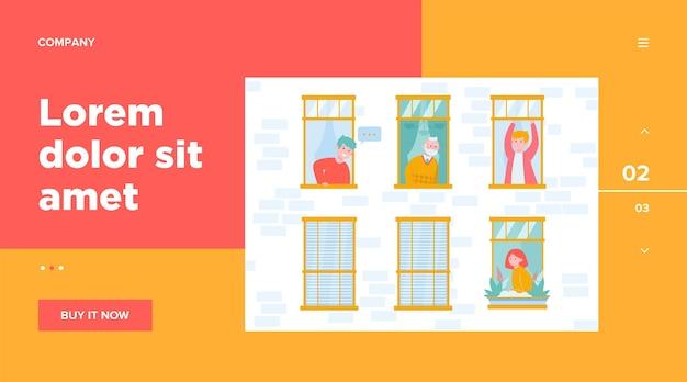 Mensen die in één gebouw wonen. appartement, raam, buurman. levensstijl en buurtconcept voor websiteontwerp of bestemmingswebpagina