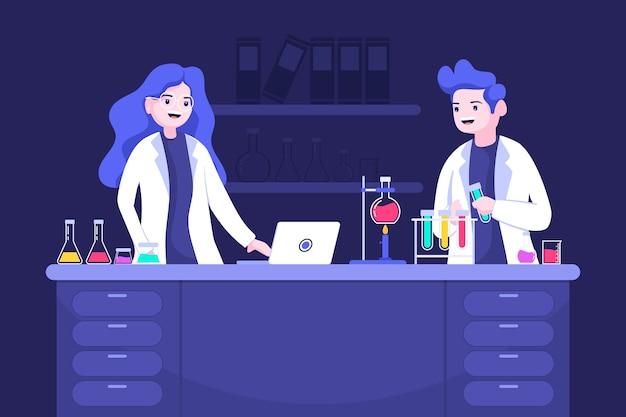 Mensen die in een wetenschappelijk laboratorium werken