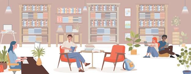 Mensen die in fauteuils zitten en boeken lezen die studeren aan het werken aan