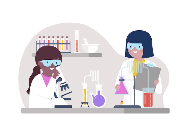 Mensen die in geïllustreerd laboratorium samenwerken