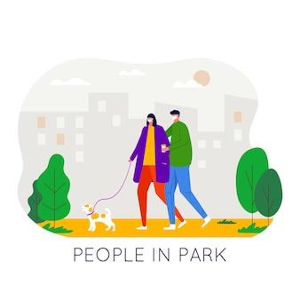 Mensen die in het park lopen en een medisch gezichtsmasker dragen om virussen en luchtvervuiling te beschermen en te voorkomen.