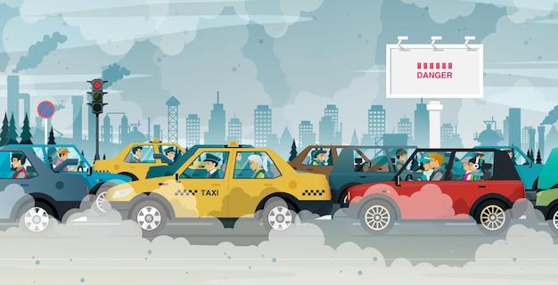 Mensen die in steden rijden, worden blootgesteld aan files en luchtvervuiling