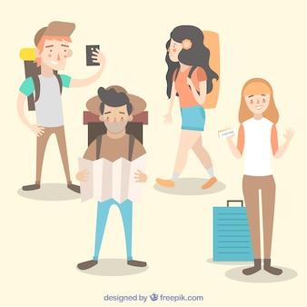 Mensen die in vlakke stijl reizen