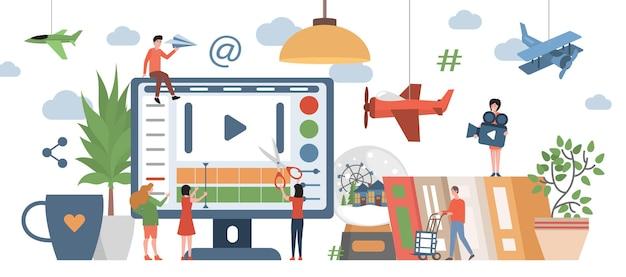 Mensen die inhoud maken voor bloggers met platte vectorillustraties voor sociale media