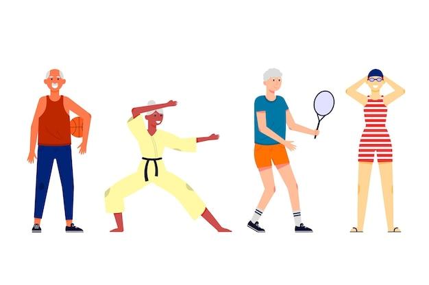 Mensen die jong van hart verschillende activiteiten doen