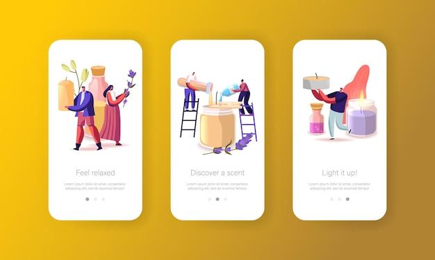 Mensen die kaarsen maken mobiele app-pagina onboard-schermsjabloon