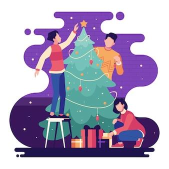 Mensen die kerstmisboom op violette sterrige achtergrond verfraaien