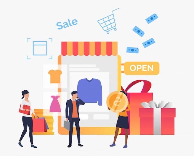 Mensen die kleren in online winkel kopen