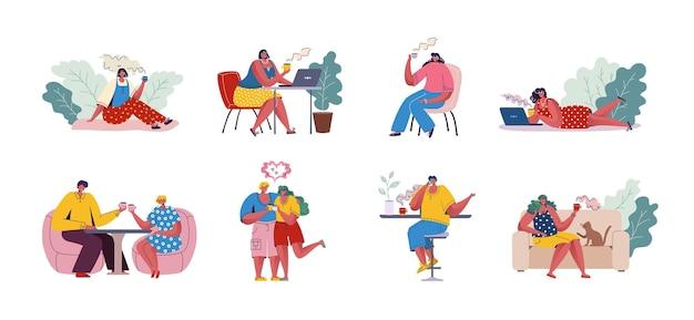 Mensen die koffie drinken. trendy stripfiguren aan tafels zitten en communiceren