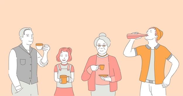 Mensen die koffie, thee en sodabeeldverhaalillustratie drinken.