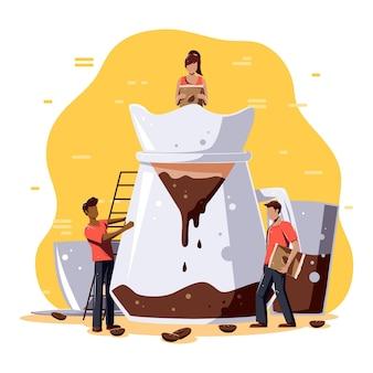 Mensen die koffie zetten