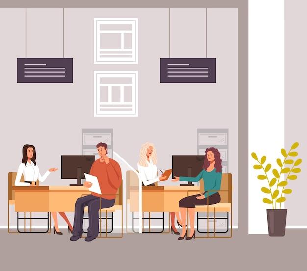 Mensen die kredietlening financieel overleg nemen in het bankkantoor. illustratie