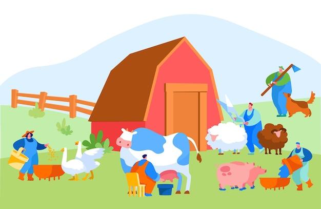 Mensen die landbouwwerk doen als het voeren van huisdieren