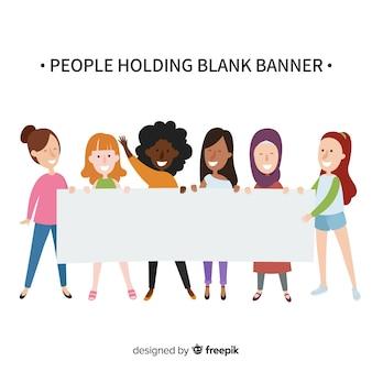 Mensen die lege banner houden