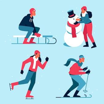 Mensen die leuke winteractiviteiten doen
