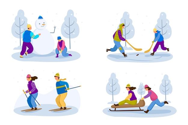Mensen die leuke winteractiviteiten pakken