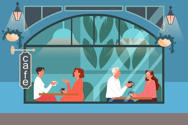 Mensen die lunchen in café. vrouwelijke en mannelijke personages drinken koffie in de coffeeshop. zakelijke bijeenkomst en romantische date in coffeeshop, cafetaria interieur.
