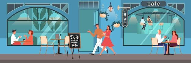 Mensen die lunchen in café. vrouwelijke en mannelijke personages drinken koffie in de coffeeshop. zakelijke bijeenkomst in coffeeshop, cafetaria interieur. illustratie