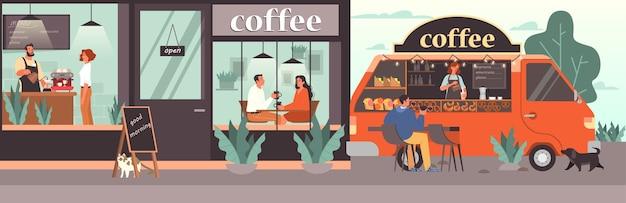 Mensen die lunchen in de coffeeshop. vrouwelijke en mannelijke karakters