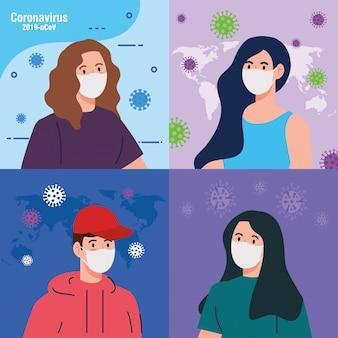 Mensen die medisch beschermend masker gebruiken tegen coronavirus vectorillustratieontwerp