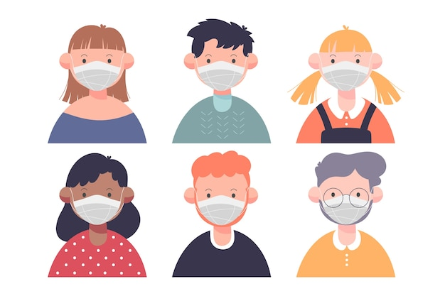 Mensen die medisch masker plat ontwerp dragen