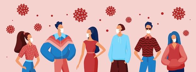 Mensen die medische ademhalingsmaskers dragen om te voorkomen
