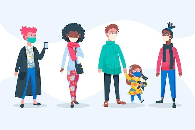 Mensen die medische masker volwassenen en kind dragen