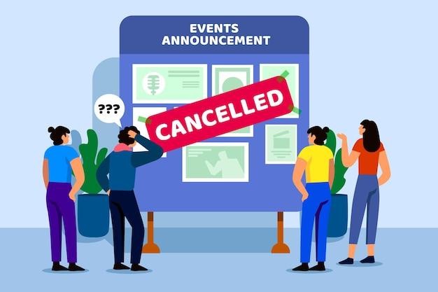 Mensen die meer te weten komen over geannuleerde evenementen