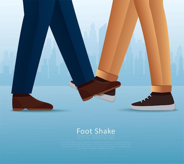 Mensen die met bezinksel begroeten. voet schudden veilige begroeting