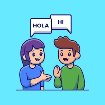 Mensen die met verschillende het pictogramillustratie van het taalbeeldverhaal spreken. taaluitwisseling pictogram concept geïsoleerde premium vector. flat cartoon stijl