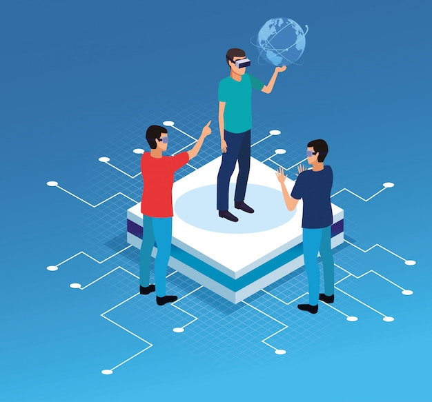Mensen die met virtual reality-technologie spelen