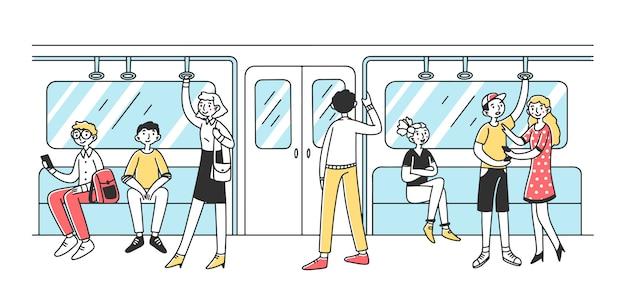 Mensen die metroillustratie gebruiken