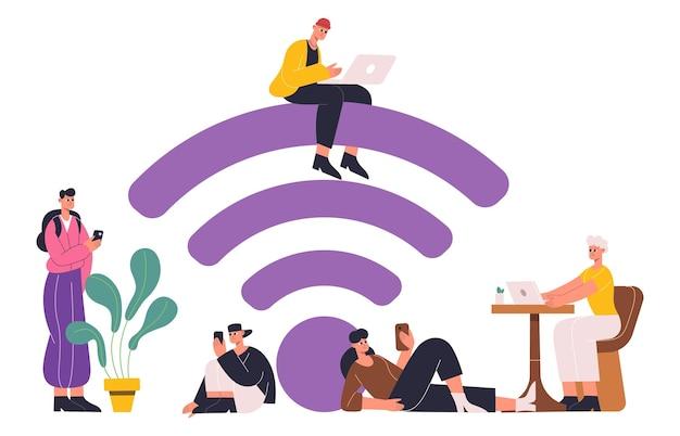 Mensen die mobiel internet gebruiken, gratis wifi-zoneconcept. gratis internet hotspot zone met wifi teken, wifi openbare toegang gebied vectorillustratie. personages die gratis internet gebruiken