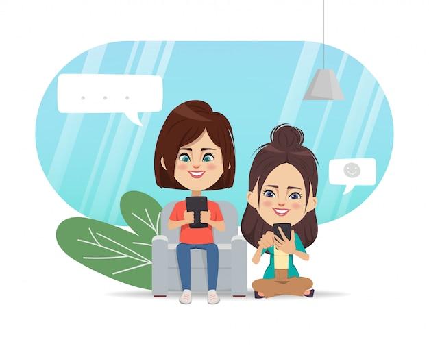 Mensen die mobiele telefoon gebruiken voor sociale media netwerkcommunicatie.