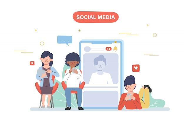 Mensen die mobiele telefoon gebruiken voor sociale media netwerkcommunicatie