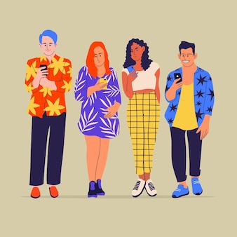 Mensen die mobiele telefoons gebruiken en kleurrijke kleding dragen